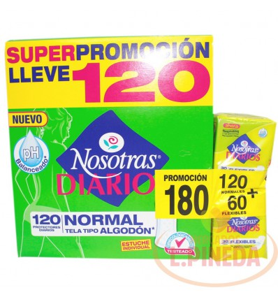 Protectores Nosotras Normal X 120 + 60 Flexibles