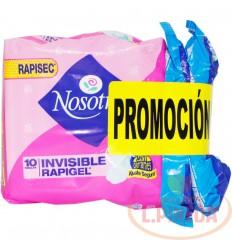 Toallas Nosotras Invisible Rapigel X 10+ 3Toallas +3pan