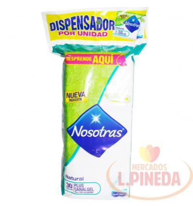 Toallas Nosotras.Plus Canalgel Tela X 30