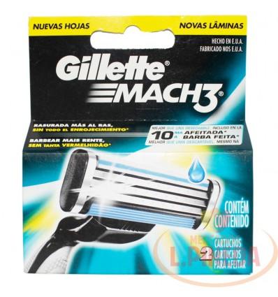 Cartuchos Afeitar Mach 3 X 2 Gillette