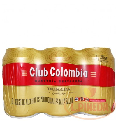 Cerveza Club Colombia X 330 CC Lata Dorada Sixpack