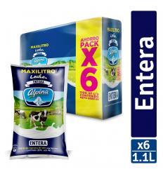 Leche Alpina Entera X 1100 ML X 6 UND gratis Natilla