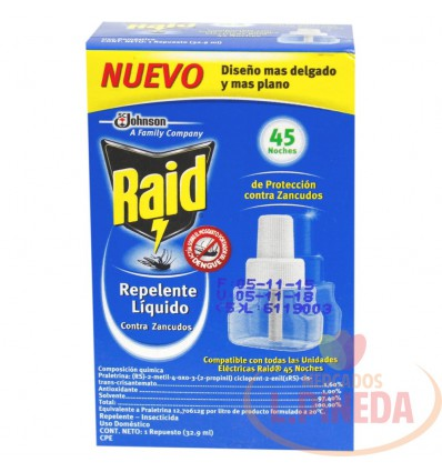 Insecticida Raid Aceite Repuesto 45 Noches